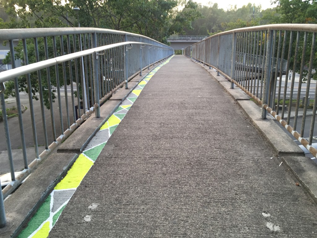 bridge crossing with painted pattern